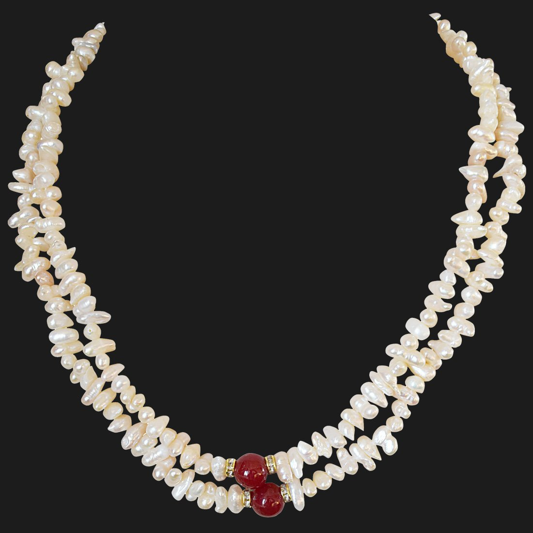 2 Line Real Freshwater Pearl and Red Stone Necklace for Women (SN888)