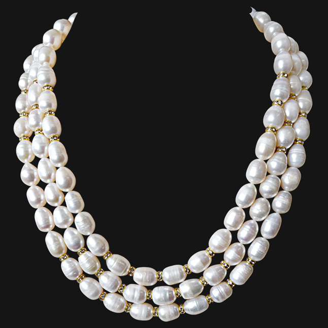3 Line Heavy Looking Real Big Elongated Pearl and Stone Ring Necklace for Women (SN910)
