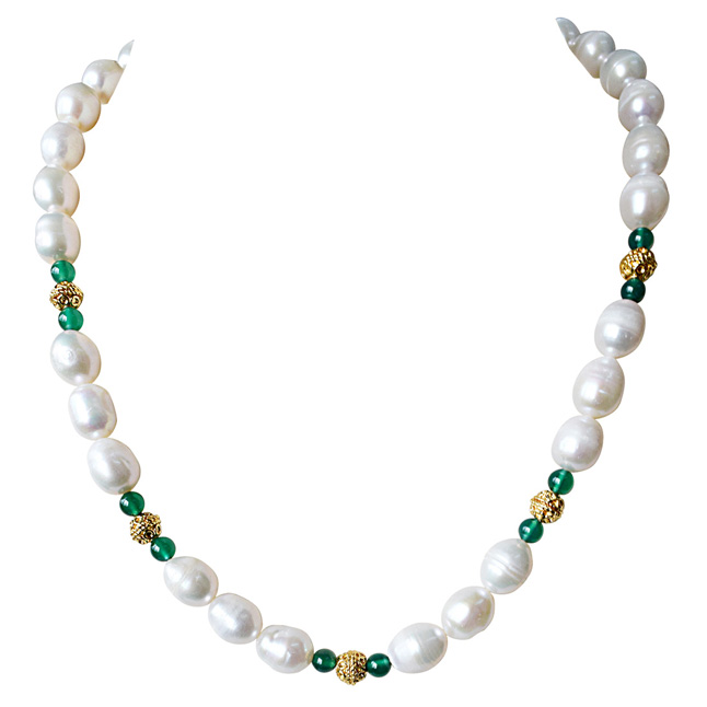 Single Line Green Onyx, Big Elongated Pearl and Gold Plated Ball Necklace for Women (SN911)