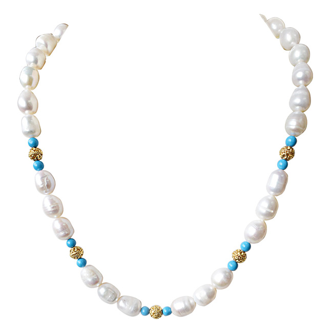 Single Line Turquoise, Big Elongated Pearl and Gold Plated Ball Necklace for Women (SN913)