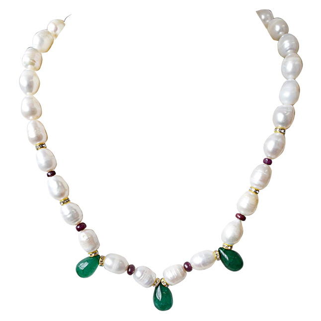 Single Line Drop Green Onyx, Red Ruby Beads, Stone Ring and Big Elongated Pearl Necklace for Women (SN914)