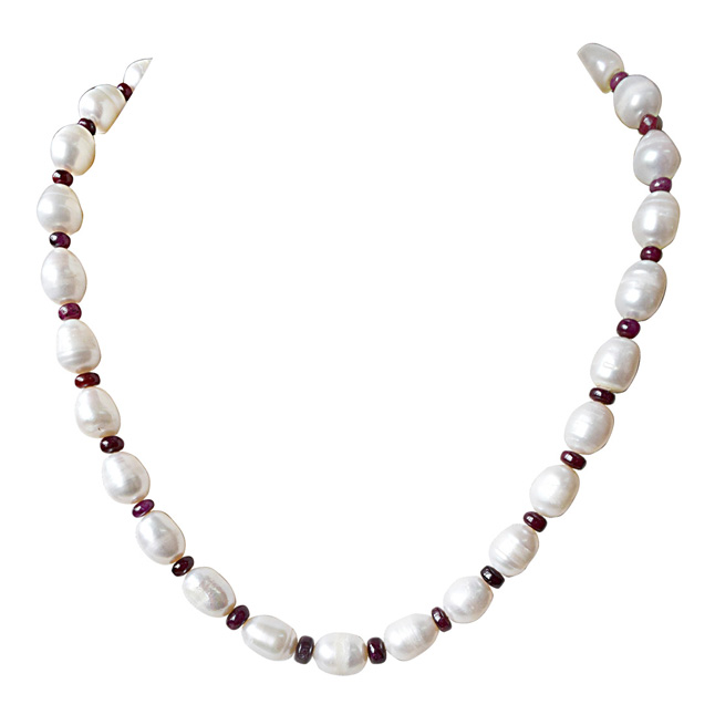 Single Line Real Red Ruby Beads an Big Elongated Pearl Necklace for Women (SN915)