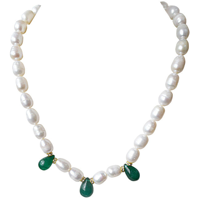 Single Line Drop Green Onyx, Stone Ring and Big Elongated Pearl Necklace for Women (SN916)