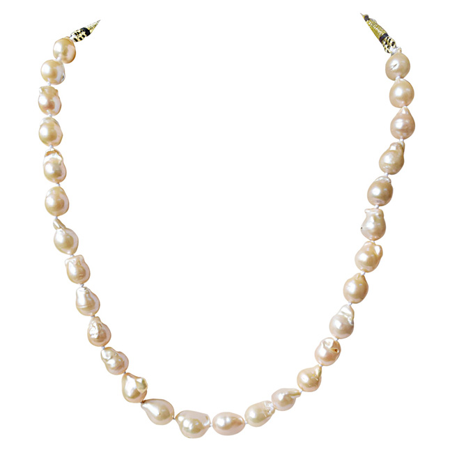 Peach Real Baroque Pearl Necklace for Women with Knots (SN917)