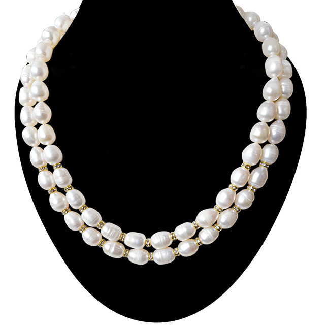2 Line Heavy Looking Real Big Elongated Pearl and Stone Ring Necklace for Women (SN919)