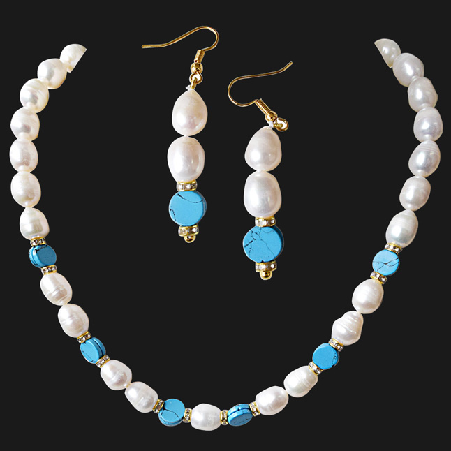 Real Big Elongated Pearl & Blue Turquoise Disc Necklace & Earring Set for Women (SN922)
