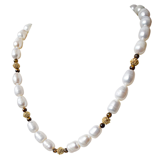 Single Line Tiger Eye, Big Elongated Pearl and Gold Plated Ball Necklace for Women (SN923)