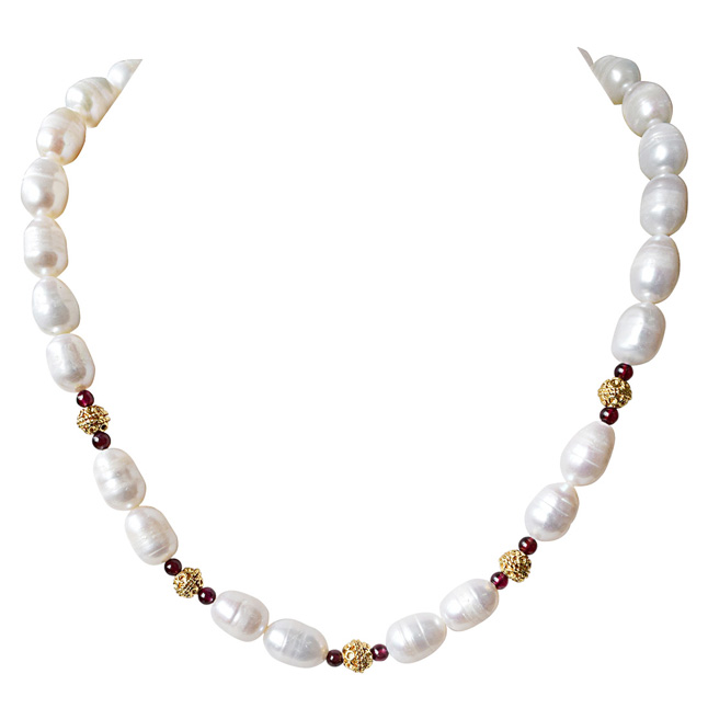 Single Line Red Garnet, Big Elongated Pearl and Gold Plated Ball Necklace for Women (SN924)