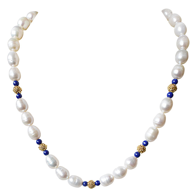 Single Line Blue Lapiz, Big Elongated Pearl and Gold Plated Ball Necklace for Women (SN925)
