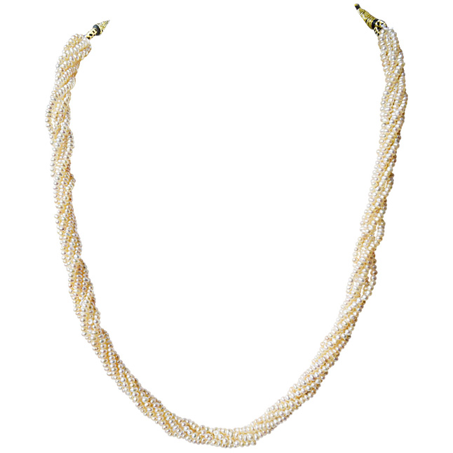 6 Line Twisted Real Natural Freshwater Pearl Necklace for Women (SN928)