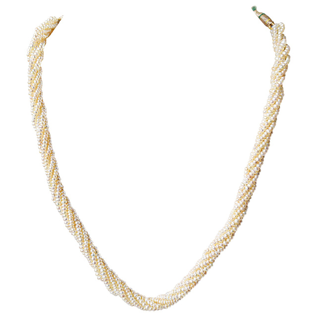 6 Line Twisted Real Natural Freshwater Pearl Necklace for Women (SN930)
