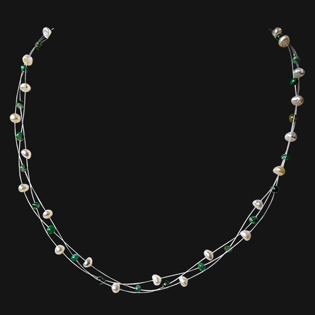 3 Line Trendy Wire Style Real Green Emerald Beads and Freshwater Pearl Necklace for Women (SN931)