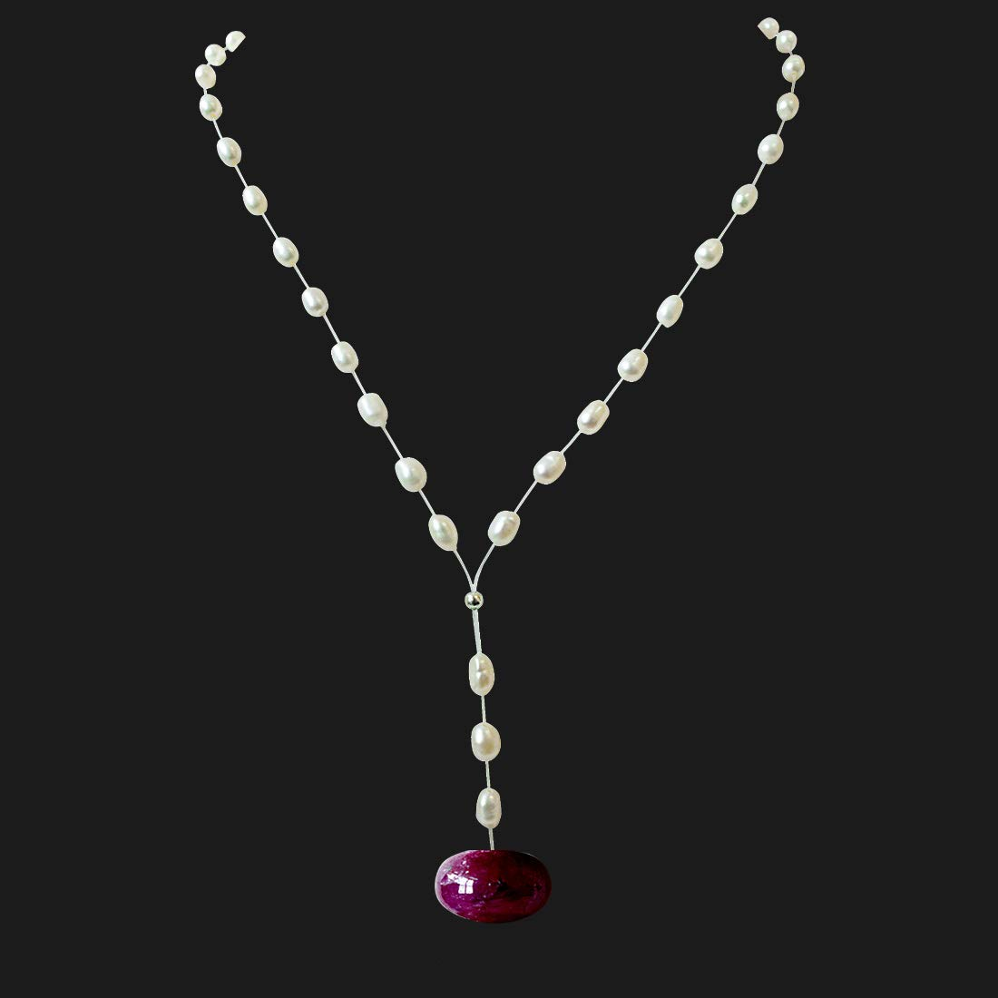 6.82cts Real Natural Round Red Ruby and Freshwater Pearl Wire Style Necklace for Women (SN946)