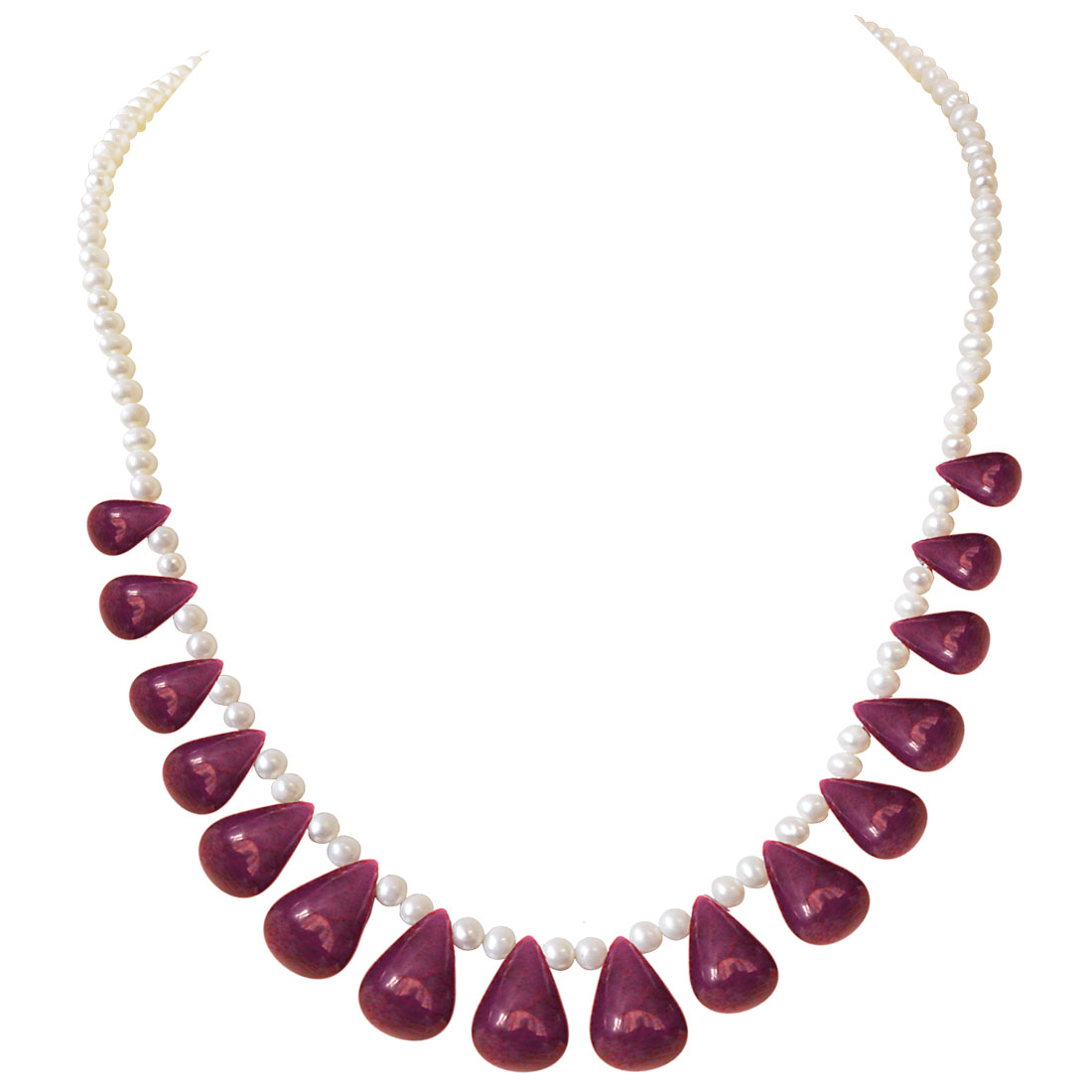 145cts Real Drop Ruby, Freshwater Pearl Necklace