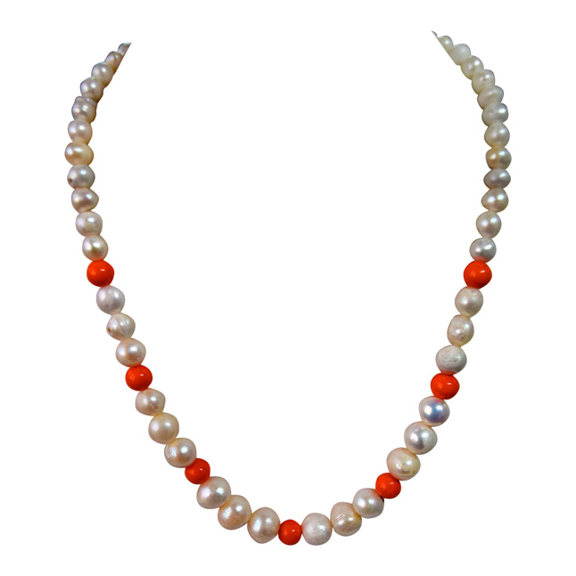 Real Natural Pearl & Orange Beads Necklace for Women (SN952)