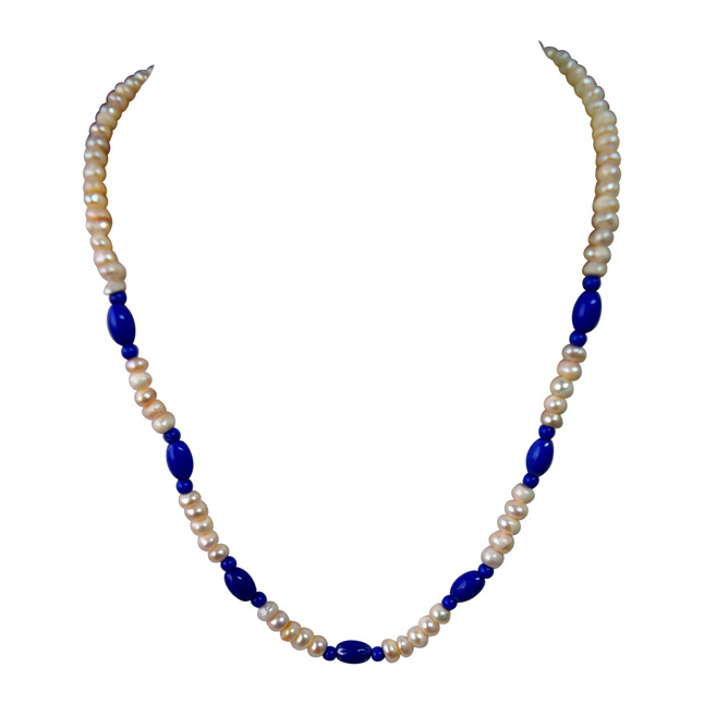 Single Line Real Freshwater Pearl & Blue Beads Necklace for Women (SN953)