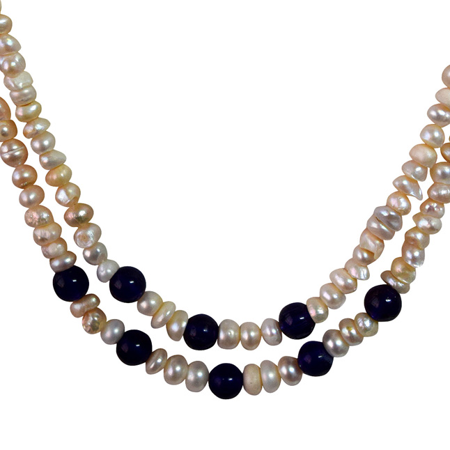 Two Line Real Natural Freshwater Pearl & Blue Beads Necklace for Women (SN954)