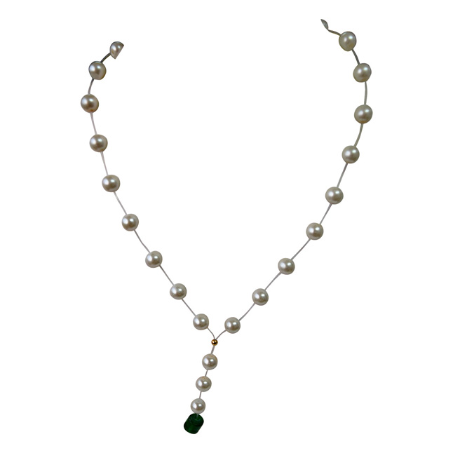Single Line Invisible Strand Shell Pearl Necklace with Green Stone Drop for Girls (SN955)