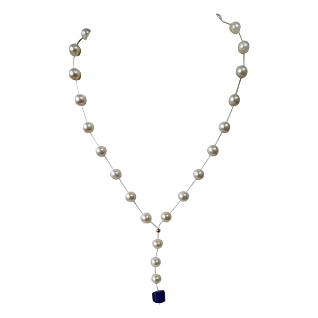 Single Line Invisible Strand Shell Pearl Necklace with Blue Stone Drop for Girls (SN957)