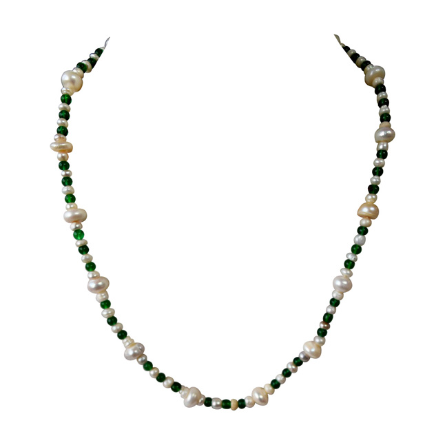 Single Line Real Natural Freshwater Pearl & Green Beads Necklace for Women (SN958)