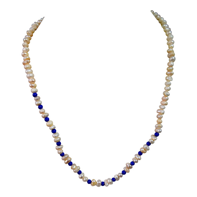 Single Line Real Freshwater Pearl & Blue Beads Necklace for Women (SN960)