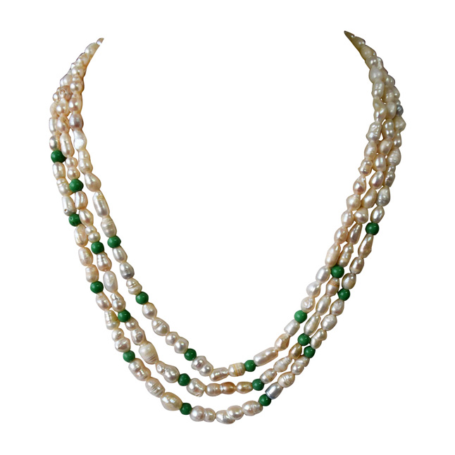 3 Line Freshwater Real Natural Pearl and Green Beads Necklace for Women (SN962)