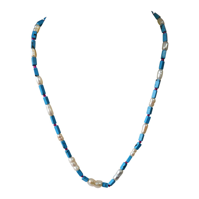 Single Line Blue Turquoise Rectangle Bead & Natural Pearl Necklace with Earrings (SN966)
