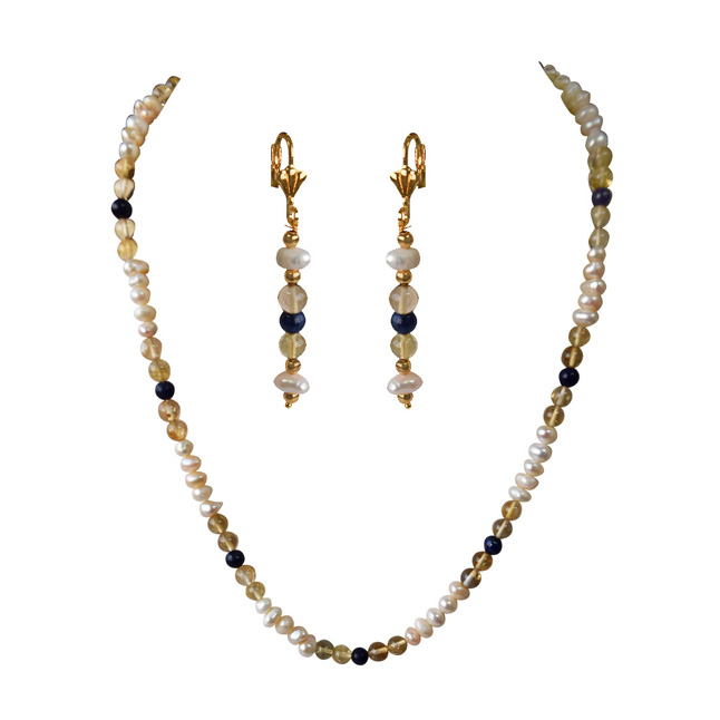 Freshwater Real Natural Pearl, Blue Lapiz & Citrin Beads Necklace with with Earrings (SN967)