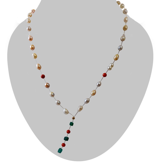 Single Line Invisible Strand Real Natural Pearl, Coral & Green Onyx Necklace (SN968)