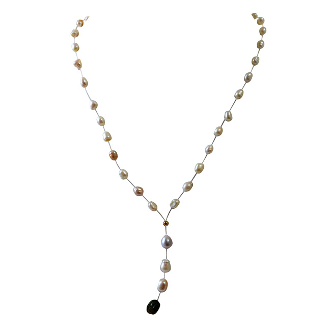 Single Line Invisible Strand Real Natural Pearl and Engraved Emerald Drop Necklace (SN969)