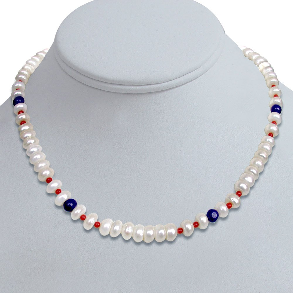 Paragon - Single Line Real Freshwater Pearl, Blue Lapiz & Red Coral Beads Necklace for Women (SN96)