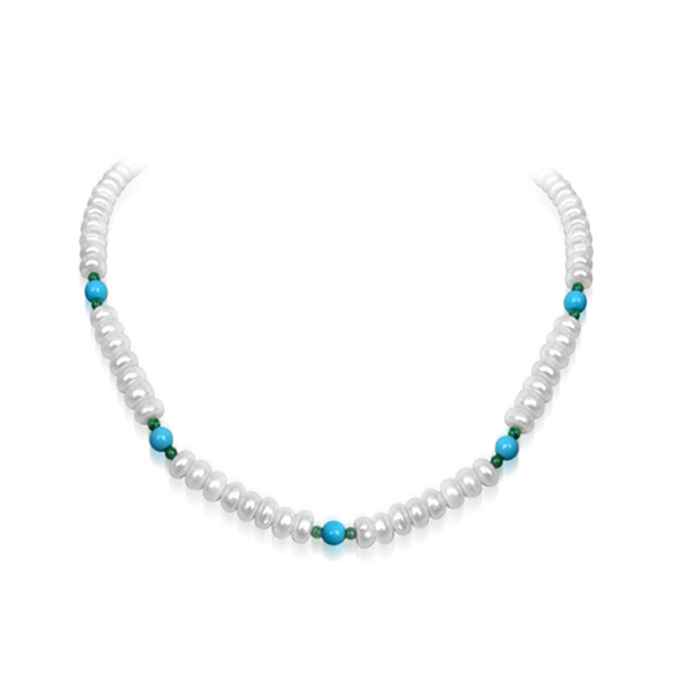 Purity - Freshwater Pearl, Turquoise & Malachite Beads Necklace for Women (SN97)