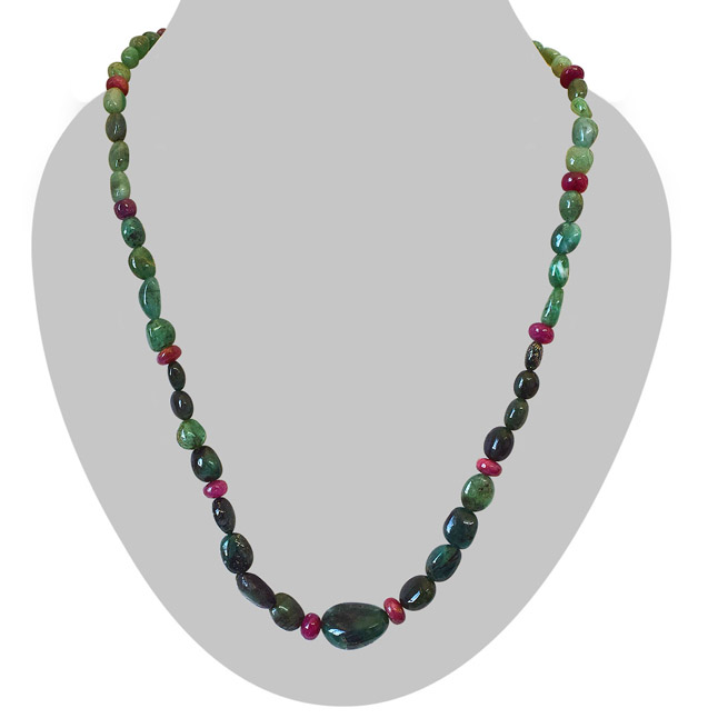 Single Line Real Oval Green Emerald and Red Ruby Beads Necklace for Women (SN970)