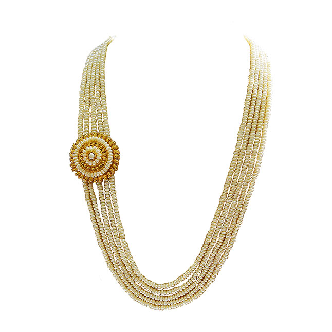 5 Line Real Freshwater Pearl Gold Plated Pendant Maharani Necklace for Women (SN972)