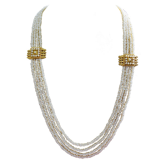 4 Line Real Freshwater Pearl & 2 Gold Platted Pendant Maharani Necklace (SN973)