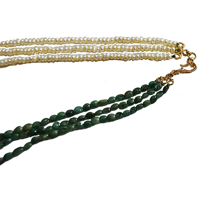 3 Line Real Emerald, Freshwater Pearl &  Gold Plated Pendant Maharani Necklace (SN974)