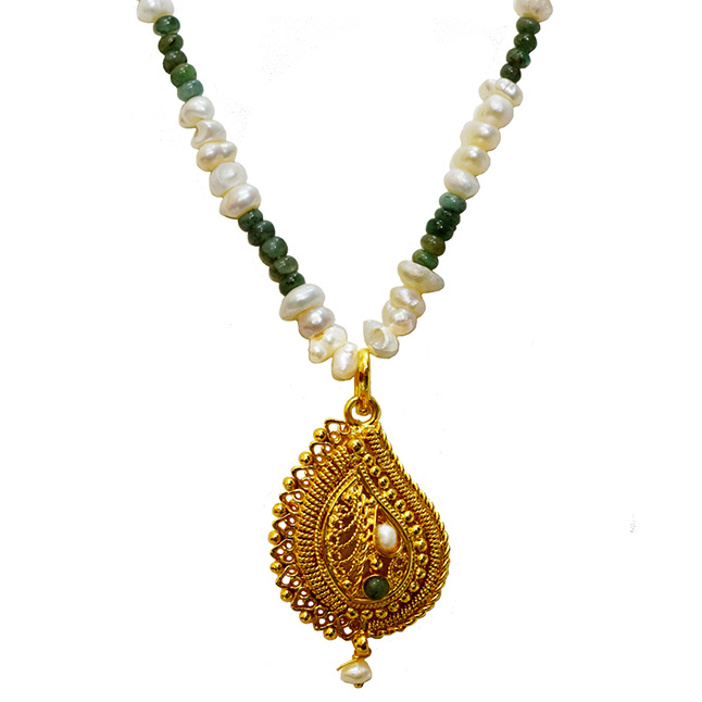 Single Line Real Emerald, Freshwater Pearl & Gold Plated Pendant Necklace (SN977)