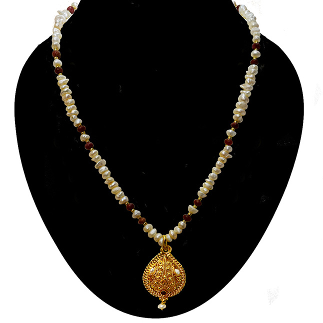 Single Line Real Ruby, Freshwater Pearl & Gold Plated Pendant Necklace for Women (SN978)