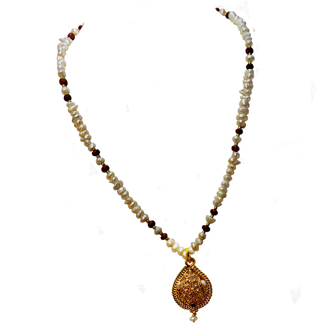 Ethnic Real Ruby, Freshwater Pearl & Gold Plated Pendant Necklace for Women (SN979)