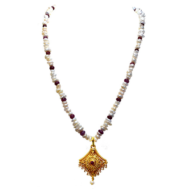 Traditional Real Ruby, Freshwater Pearl & Gold Plated Pendant Necklace (SN980)