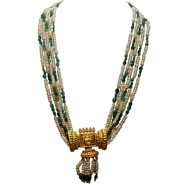 Real Oval Emerald, Freshwater Pearl & Gold Plated Pendant Necklace for Women (SN983)