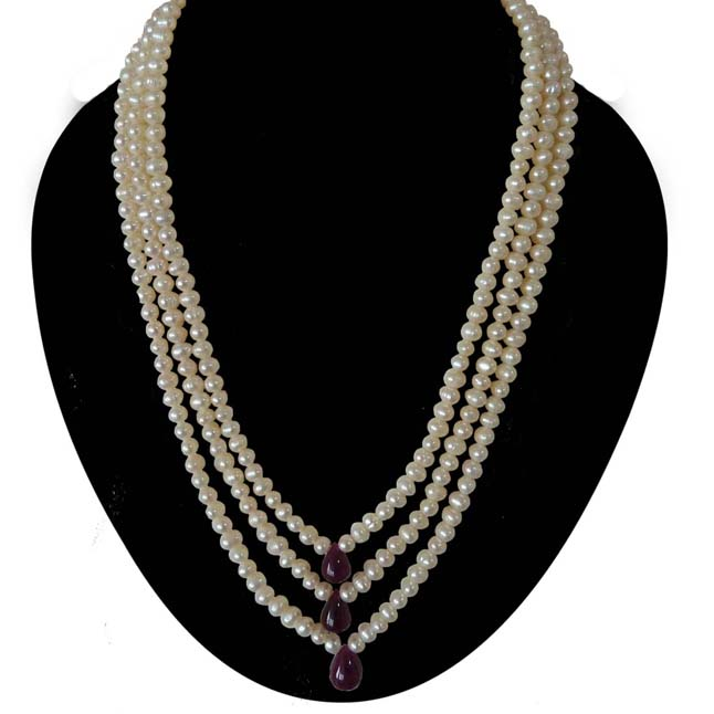 Traditional Rani Haar 3 Line Real Pearl and Drop Ruby Necklace (SN989)