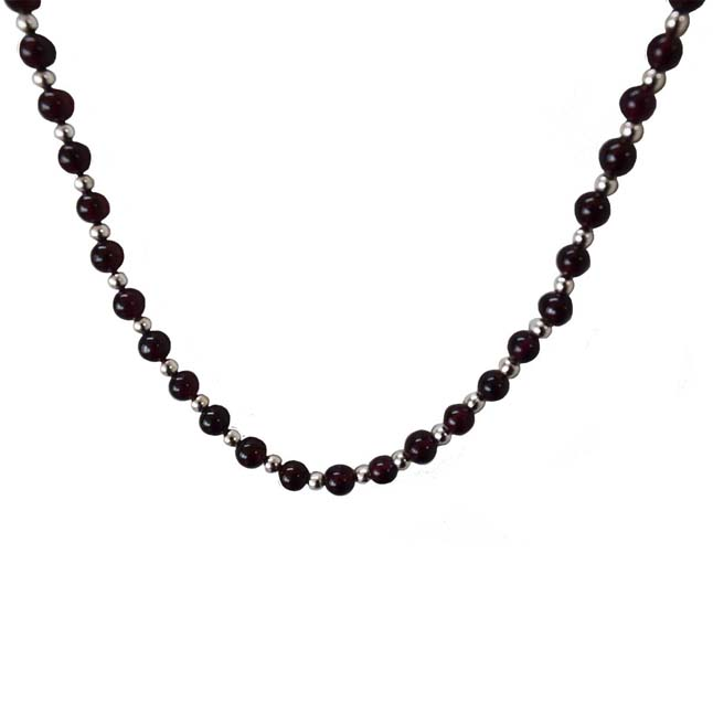 Single Line Black Onyx & Silver Plated Beads Necklace for Women (SN991)