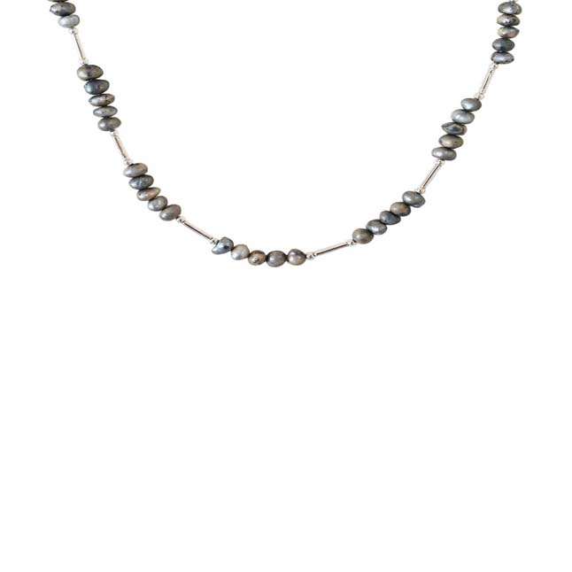 Single Line Real Gray Colored Pearl & Silver Plated Pipe Necklace for Women (SN995)