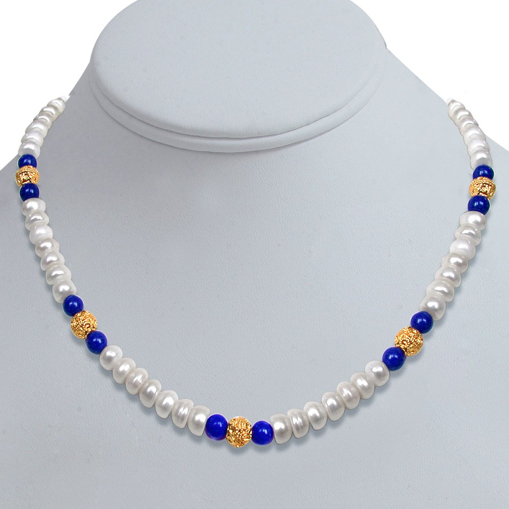 Wonder - Freshwater Pearl, Blue Lapiz Beads & Gold Plated Ball Necklace for Women (SN99)