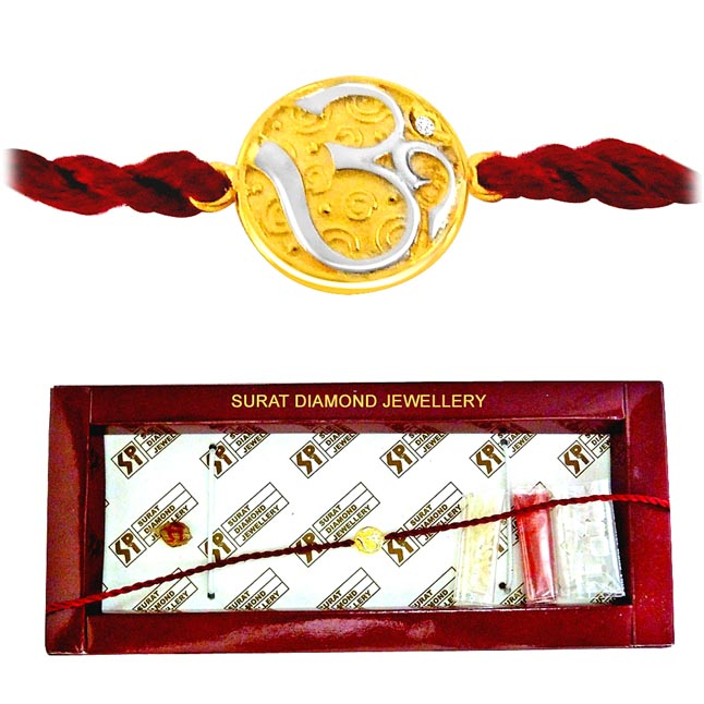 OM -Diamond Gold Two Tone Rakhi