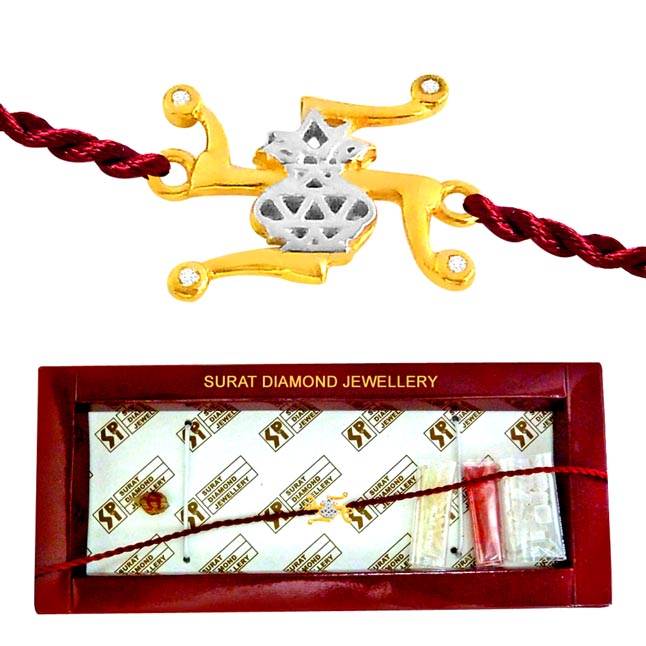 Swastik -Kalash -Diamond Gold Rakhi