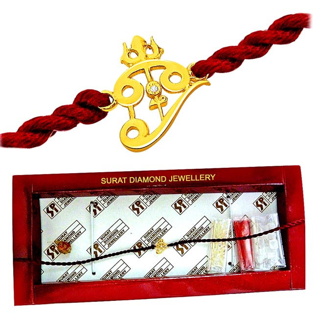 Trishul -Diamond Gold Rakhi