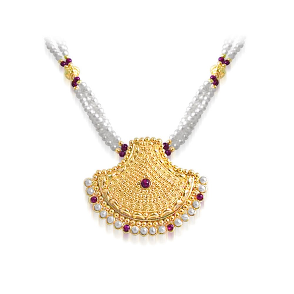 Pearl Glitters - Temple Design Gold Plated Pendant & Three Line Freshwater Pearl & Red Garnet Beads Necklace for Women (SNP10)