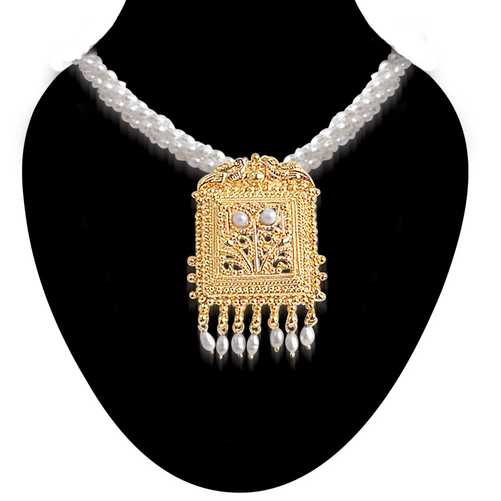 Pearl Grandeur - Gold Plated Temple Design Pendant & 3 Line Twisted Rice Pearl Pendant Necklace for Women (SNP16)